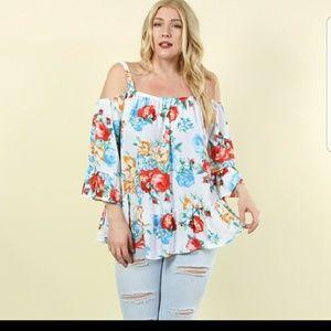 Fay Floral Cold-Shoulder Plus Size Top!!!
